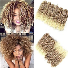 6 bundles marlybob crochet hair 12 inch kinky curly crochet braids ombre jerry curly synthetic braiding hair extension (27/613) 6Pcs / Pack,Strawberry Blonde / Bleach Blonde,12 inch
