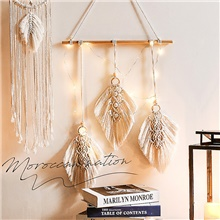 1pc LED Bohemian Chic Macrame Wall Hanging Tapestry Mandala Moon Dreamcatcher Wall Decor Boho Woven Knitted Tapestries Home Decoration Round ( US $4.49)