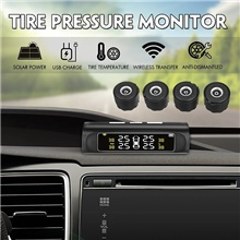 car solar wireless tpms tyre tire pressure monitor system lcd4 external car sensor Black