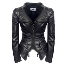 Women's Zipper Faux Leather Jacket Regular Solid Colored Going out Streetwear Black S M L XL Black,S