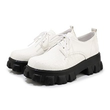 women's platform wedges oxfords casual lace up chunky heels wingtips round toe creeper shoes white White,35