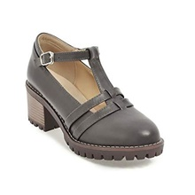 women's mid heel pumps classic t-strap mary jane dress shoes vintage platform oxfords,gray Creamy-white,35