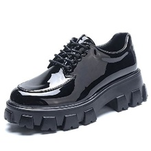Women's Oxfords Chunky Heel Round Toe Daily Walking Shoes PU Lace-up Solid Colored Black Black,US5.5 / EU36 / UK3.5 / CN35