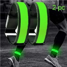 LED Running Armband 2pcs Outdoor Reflective Trim / Fluorescence Safety Sporty Buckle Safety Reflective Strip Luminous Reflective for Running Cycling / Bike Jogging Motorcycling Unisex Nylon Terylene Green,2