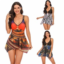 Women's V Neck Tankini Set 2 Piece High Waisted Swimsuits Floral Slimming Swimdress Orange Small Orange,2XL
