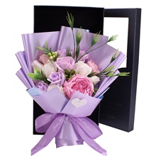Birthday Gift Box For Valentine's Day Artificial Flower Real Touch Modern Contemporary Bouquet Tabletop Flower Bouquet 1 Rose 1,Violet ,Irregular,S