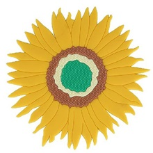 1 piece handmade sunflower coaster for drinks, absorbent heat -resistant drink coaster set Floral,Round,Yellow,1 pc,,18*18