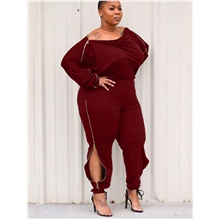 Women's Streetwear Punk & Gothic Jumpsuit Solid Colored Burgundy,L
