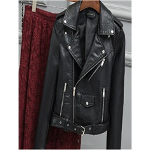 Women's Zipper Faux Leather Jacket Regular Solid Colored Going out Basic Black Blue Yellow Blushing Pink S M L XL Black,S