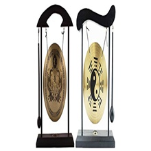 , multi-set feng shui zen art brass gong with wooden stand for home decor, desktop wind chime (2, yin yang + dragon) Gossip