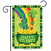 "happy st.pat's garden flag 12"" x 18"" decorative shamrock clover garden flag gold pot coin rainbow double sided flag for st. patrick's day decoration 30*45cm"
