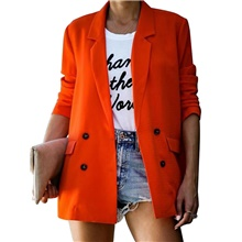 womens casual long sleeve blazers office work double breasted button down cardigan jackets with pockets black orange,S