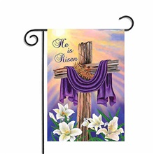 "garden flag easter cross he is risen house flag decoration double sided flag 12.5"" x 18"" 135#YMX"