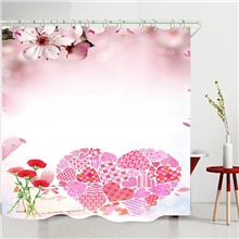 valentine's day flowers love heart digital printing shower curtain shower curtains  hooks modern polyester new design 150x180 cm