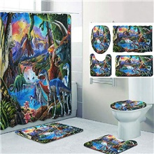 Bathroom Shower Curtain & Mat Set Classic Polyester New Design 150x180 cm