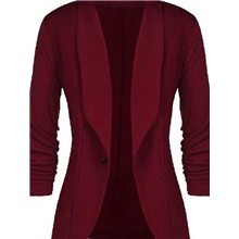 blazer women's cardigan 3/4 sleeve elegant slim fit lightweight belore jacket suit jacket coat for leisure and office - pink - 26 Wine,S
