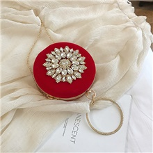 female fashion rhinestones wild shoulder bag round bag party Red