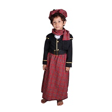 Ethnic Costume Boys' Movie Cosplay Red Top Pants Belt Halloween Children's Day New Year Polyester / Cotton / Scarf / Hat Red,S-Kid
