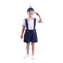 Sailor / Navy Party Costume Boys' Movie Cosplay Blue Top Pants Hat Halloween Children's Day New Year Polyester / Cotton Blue,S-Kid