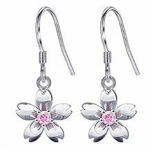 Silver Stud Earring made with Crystal for Girls and Women (Peach Blossom) Customized material [Deposit special shooting]
