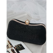 Women's Bags Polyester Alloy Evening Bag Pearls Crystals Solid Color Fashion Wedding Bags Wedding Party Black Blue Almond Green Black