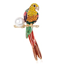 Women's Brooches 3D Parrot Fashion Gold Plated Brooch Jewelry Rainbow For Christmas Gifts Wedding Party Dress Party & Evening New Year Rainbow,1 pc