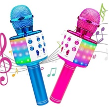 Karaoke Wireless Microphone Portable Karaoke Machine Bluetooth with LED Light Android / iPhone Compatible Plastics Boys and Girls Kids Adults 2 pcs Graduation Gifts Toy Gift Blushing Pink