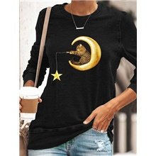 Women's T shirt Cat Graphic Long Sleeve Print Round Neck Tops Basic Basic Top Black Black,S