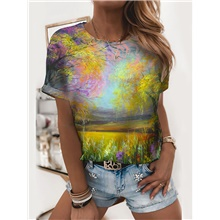 Women's T shirt Graphic Scenery Print Round Neck Tops Basic Basic Top Yellow Yellow,S