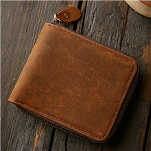 Men's Bags Cowhide Wallet Zipper 2021 Daily Outdoor Dark Brown Dark Brown