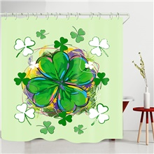 Four-Leaf Clover Digital Printing Shower Curtain Shower Curtains  Hooks Modern Polyester New Design 150x180 cm