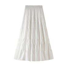 Women's Daily Vacation Streetwear Sophisticated Skirts Solid Colored Layered Pleated Patchwork White Black Blushing Pink