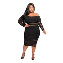 Plus Size Women's Sheath Dress Midi Dress Long Sleeve Spring & Summer Casual 95% Polyester 5% Spandex Skinny Black,L