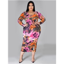 Plus Size Women's Sheath Dress Midi Dress Long Sleeve Spring & Summer Sexy 95% Polyester 5% Spandex Skinny Rainbow,L