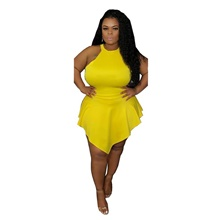 Plus Size Women's Sheath Dress Knee Length Dress Sleeveless Spring & Summer Sexy 95% Polyester 5% Spandex Form Fit Yellow,L