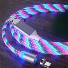 2A Magnetic Charging Mobile Phone Cable USB Type C Flow Luminous Lighting Data Wire For Samsung Huawei LED Micro Cable Micro USB,200CM,#1
