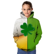 Kids Girls' Active Graphic Color Block 3D Print Long Sleeve Hoodie & Sweatshirt Green Green,2-3 Years(100cm)