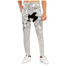 Men's Sporty Casual / Sporty Breathable Quick Dry Sports Casual Holiday Pants Sweatpants Pants 3D Graphic Prints Full Length Print Gray Gray,M