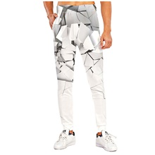 Men's Sporty Casual / Sporty Breathable Quick Dry Sports Casual Holiday Pants Sweatpants Pants 3D Graphic Prints Full Length Print White White,M