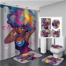 Bathroom Shower Curtain Mat Set 6# Neoclassical Polyester Waterproof 1#,180x180 cm
