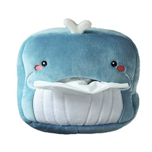 Tissue Box Car Plush Pig Shark Dinosaur Giraffe Design Tissue Box Lovely Funny Tissue Box Car Accessories Autos Accesorios 2019,Blue