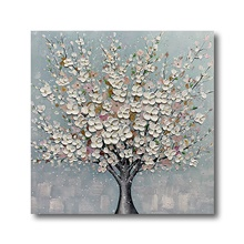 Oil Painting Hand Painted Canvas Abstract High Quality Wall Art Modern Stretched White Blossom Blue Ready to Hang Stretched Canvas,32' x 32' (80cm x 80cm)