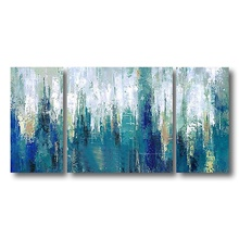 Oil Painting Handmade Hand Painted Wall Art Home Decoration Deco Stretched Frame Ready to Hang Abstract Modern Blue Stretched Canvas,24' x 48' (60cm x 120cm)