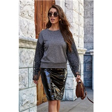 Women's Tee / T-shirt Patchwork Crew Neck Sport Athleisure Top Long Sleeve Breathable Soft Comfortable Everyday Use Casual Daily Outdoor Grey,S