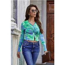 Women's Tee / T-shirt Tie Dye Crop Top V Neck Sport Athleisure Top Long Sleeve Breathable Soft Comfortable Everyday Use Casual Daily Outdoor Green,S