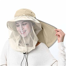 Mosquito Head Net Hat, Sun Hat Safari Hat Away from Insect and Bug Sapphire ,L(58-60cm)